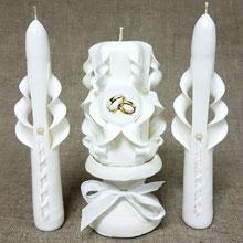 """Набор свадебных свечей """"Резные"""" (белые)"""