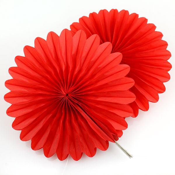 Веер из бумаги для декора (25 см, 1 шт) (красный)