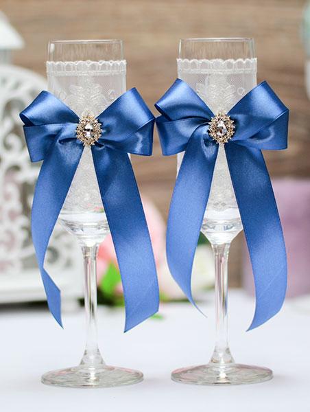 Бокалы для молодоженов ручной работы Винтажный шик (2 шт) (синий)
