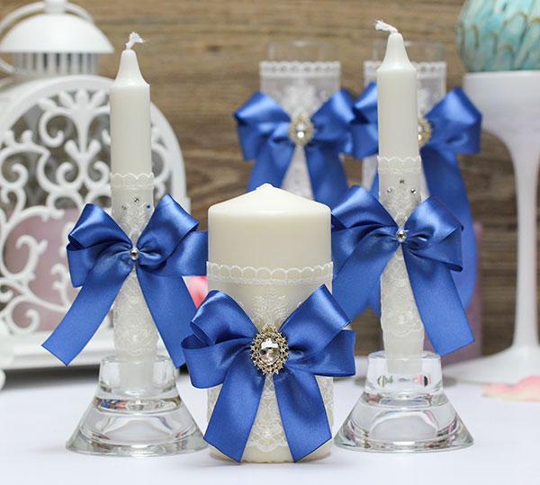 Домашний очаг + 2 свечи Винтажный шик (без подсвечников) (синий)