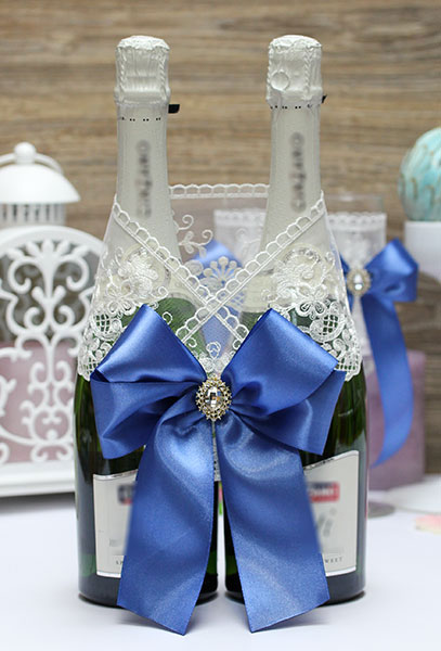Украшение для шампанского Винтажный шик (синий)