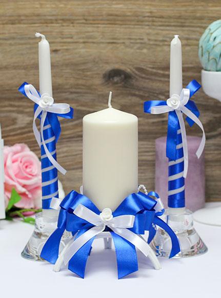 Домашний очаг + 2 свечи Fantastic (без подсвечников) (синий)
