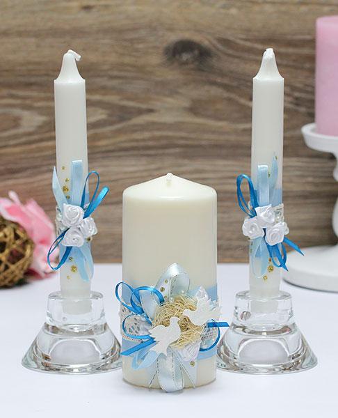 Домашний очаг + 2 свечи Семейное гнездышко (без подсвечников) (голубой)