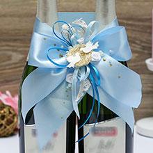 Украшение для свадебного шампанского Семейное гнездышко (голубой)