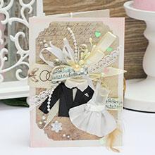 Свадебная открытка ручной работы (#041)
