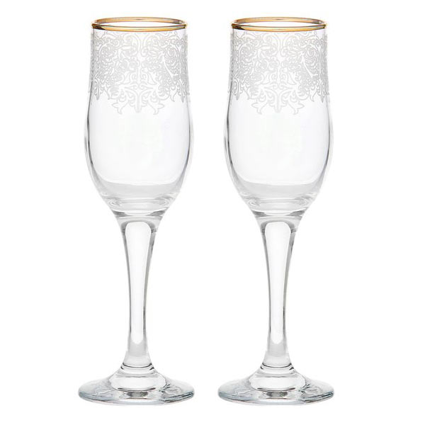 Свадебные бокалы для шампанского с узором-гравировкой (2 шт)