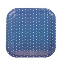"""Набор квадратных тарелок """"Горох"""" (6 шт, 18 см, синие)"""