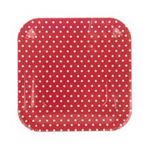 """Набор квадратных тарелок """"Горох"""" (6 шт, 23 см, красные)"""