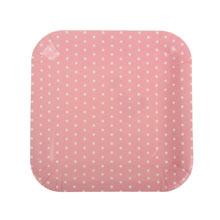 """Набор квадратных тарелок """"Горох"""" (6 шт, 23 см, розовые)"""