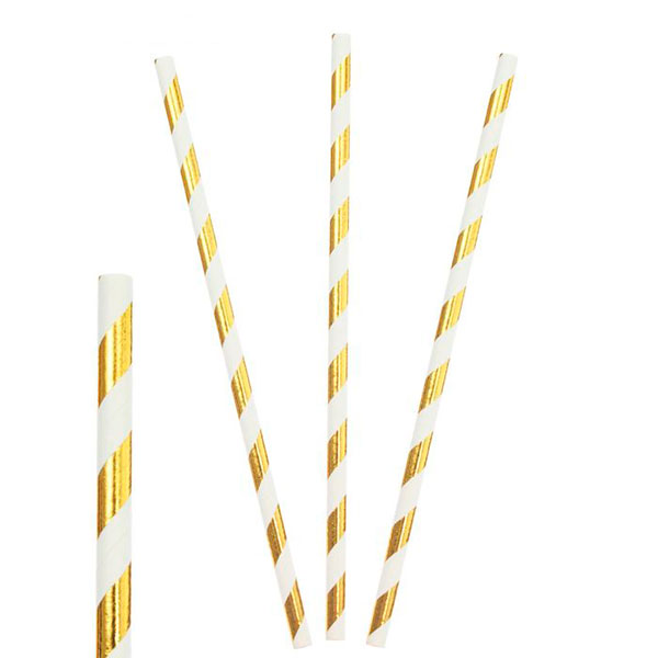 """Трубочки для коктейля """"Stripes"""" (12 шт, золотистые)"""