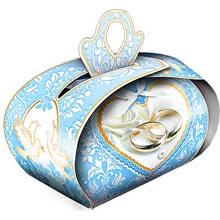 """Бонбоньерка для подарков """"Обручальные кольца"""" (голубой)"""