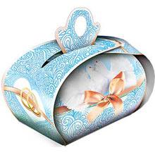 """Бонбоньерка для подарков """"Голуби и бант"""" (голубой)"""