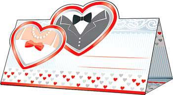 """Рассадочные карточки для гостей  """"Жених и невеста"""""""