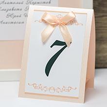 Карточка с номером стола Ренессанс (персиковый)