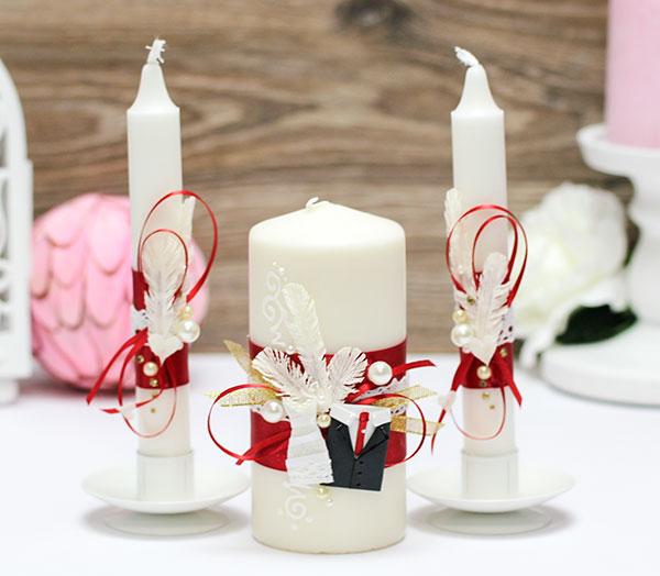 Домашний очаг + 2 свечи Счастливая пара (без подсвечников) (красный)