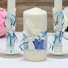 Домашний очаг + 2 свечи Счастливая пара (без подсвечников) (голубой)