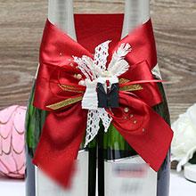 """Украшение для свадебного шампанского """"Счастливая пара"""" (красный)"""