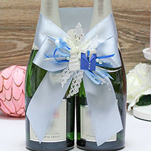 Украшение для свадебного шампанского Счастливая пара (голубой)