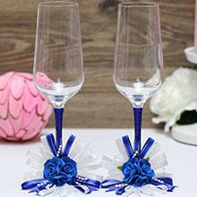 """Свадебные бокалы для молодоженов """"Валенсия"""" (синий)"""