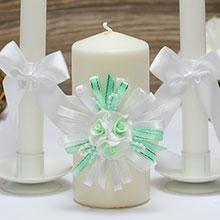 """Свадебные свечи """"Валенсия"""" (3 свечи, мятный)"""