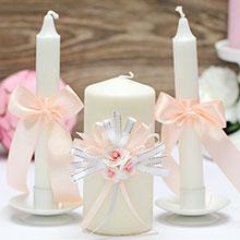 """Свадебные свечи """"Валенсия"""" (3 свечи, персиковый)"""