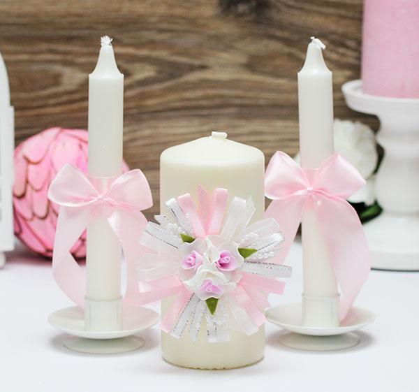 """Свадебные свечи """"Валенсия"""" (3 свечи, розовый)"""