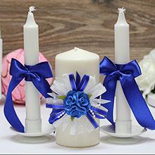 """Свадебные свечи """"Валенсия"""" (3 свечи, синий)"""