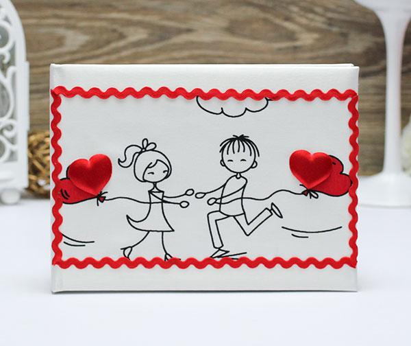 """Книга пожеланий ручной работы """"Это любовь"""" (24 листа) (красный)"""