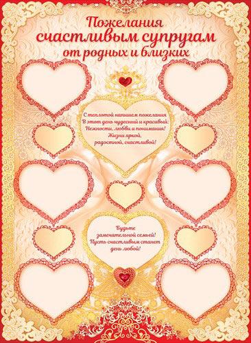 """Плакат """"Пожелания счастливым супругам"""""""