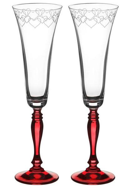 Бокалы для шампанского (2 шт; гравировка; красная ножка)