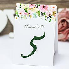 """Карточка с номером стола """"Весенние цветы"""""""