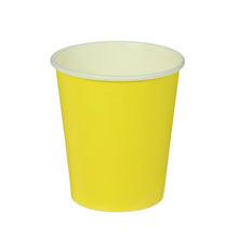 Набор однотонных бумажных стаканчиков (10 шт, желтые)