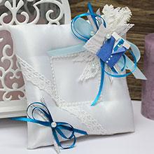 Свадебная подушечка Счастливая пара (голубой)