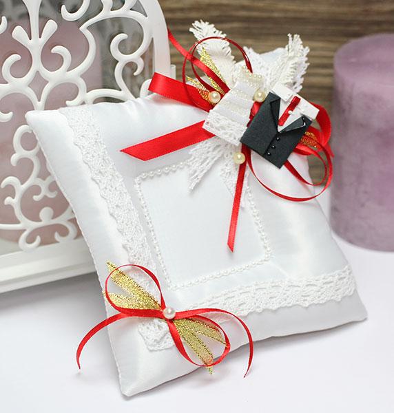 Свадебная подушечка Счастливая пара (красный)