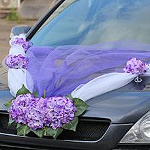 Украшение на капот свадебной машины «Виолла» (бело-фиолетовая)