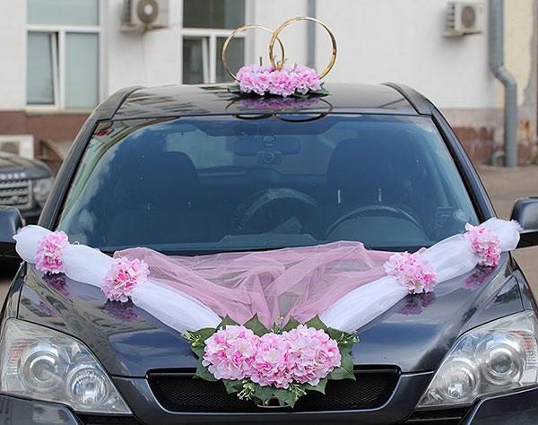 Украшение на капот свадебной машины «Виолла» (нежно-розовая)