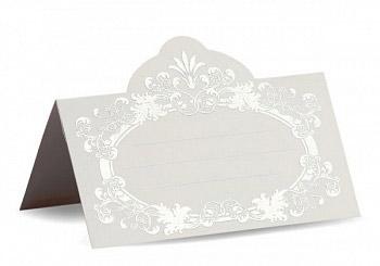 """Рассадочная  карточка """"Вензеля"""" (#08772, серебро)"""