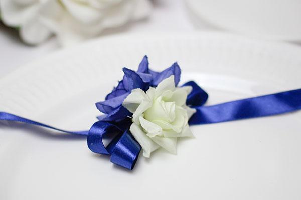 """Лента на голову или на запястье подружек невесты """"Маргарита"""" (синий)"""