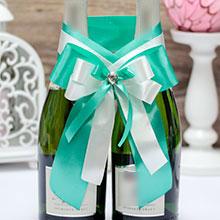 Декор на свадебное шампанское Тиффани (сине-зеленый)