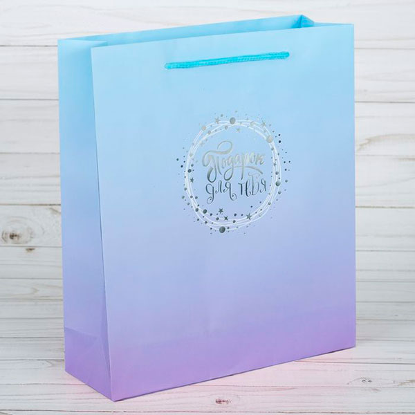 """Бумажный пакет """"Подарок для тебя"""" (18х23х8 см)"""