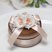 Солонка деревянная Изысканные розы (персиковая)