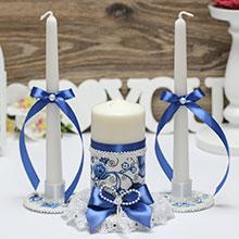 """Набор свадебных свечей с подсвечниками """"Гжель"""""""