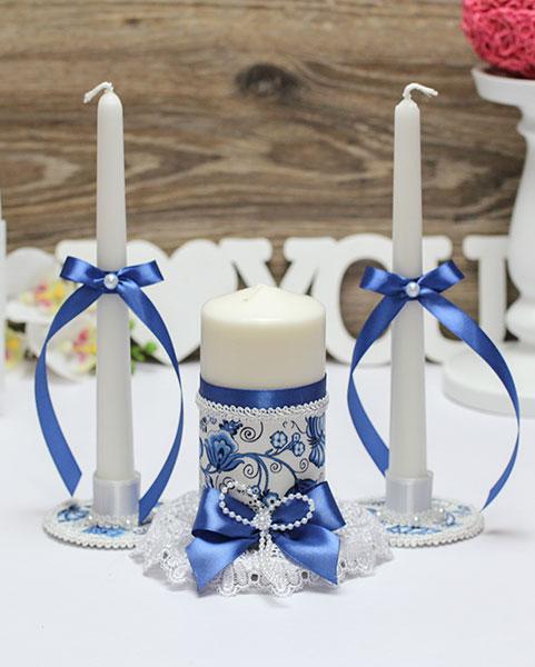 """Набор свадебных свечей с подсвечниками """"Гжель"""" (синий)"""