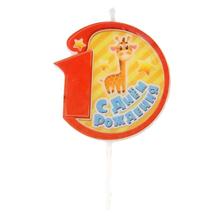 """Восковая свеча-цифра для торта """"1"""" (жирафик)"""