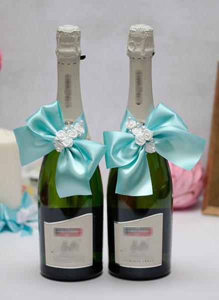 Декоративное украшение свадебных бутылок Маргарита (2 шт) (лазурный)