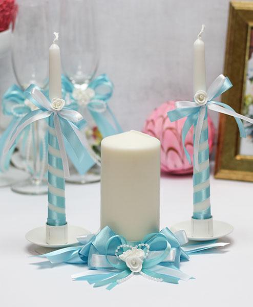 Домашний очаг + 2 свечи Fantastic (без подсвечников) (лазурный)