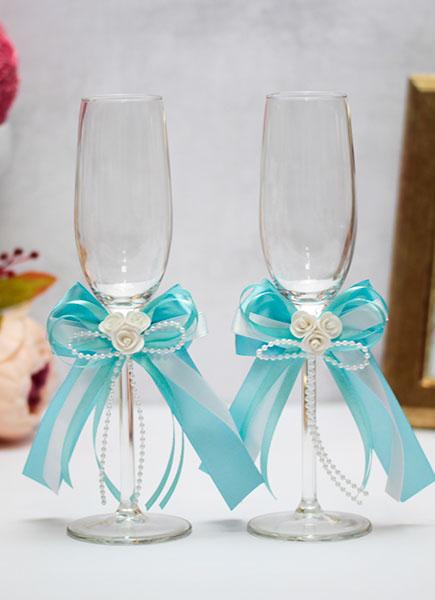 Свадебные бокалы ручной работы Fantastic (2 шт) (лазурный)
