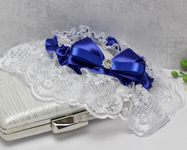 """Свадебная подвязка """"Портофино"""" (синий)"""