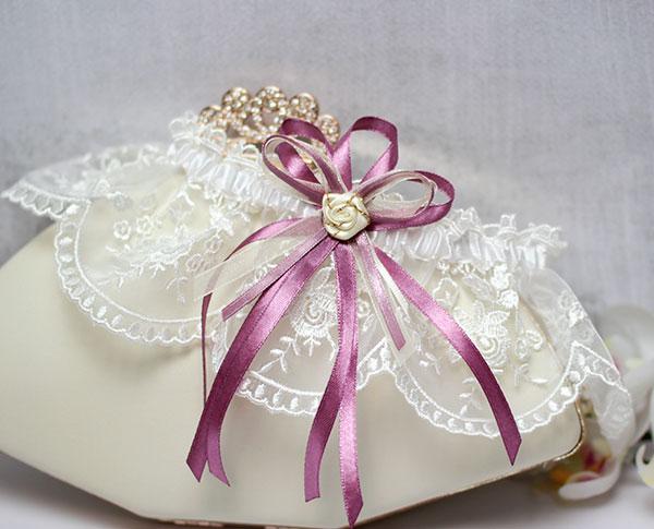 """Подвязка для невесты """"Вишневая сказка"""" (пурпурный)"""