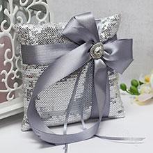 """Свадебная подушечка для колец """"Серебряный блеск"""""""
